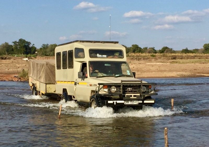 Crossing the Limpopo at Mapai, made easy thanks to the seasonal drop in river levels.