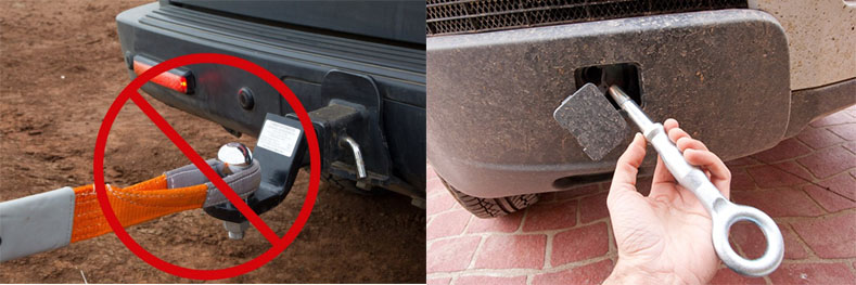 NEVER use a towball as a recovery point. NEVER use a screw-in attachment as a recovery point – these are to tie-down a car when it is being transported.