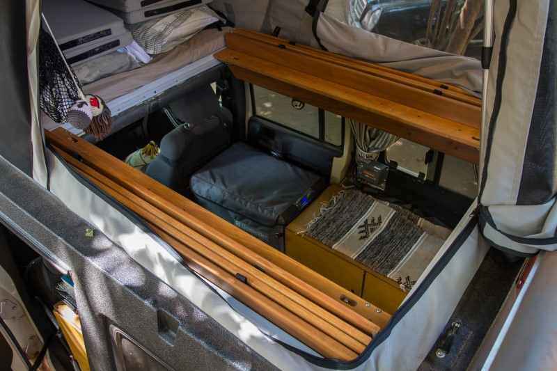 Jeep open living planks fold into bed